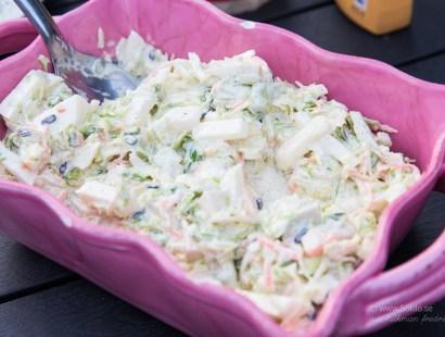 Coleslaw med avokado, melon och groddar