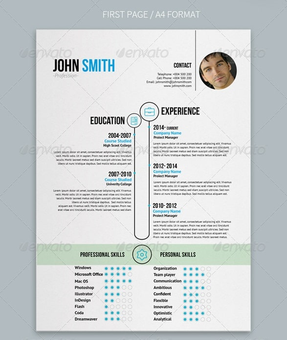 clean and simple resume design in a4 and letter format