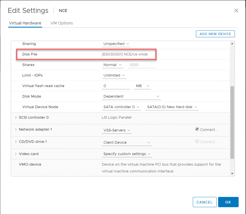 New-SATA-disk-for-Nutanix-CE-added-to-the-VM Install Nested Nutanix CE in VMware vSphere ESXi 6.7 Update 1