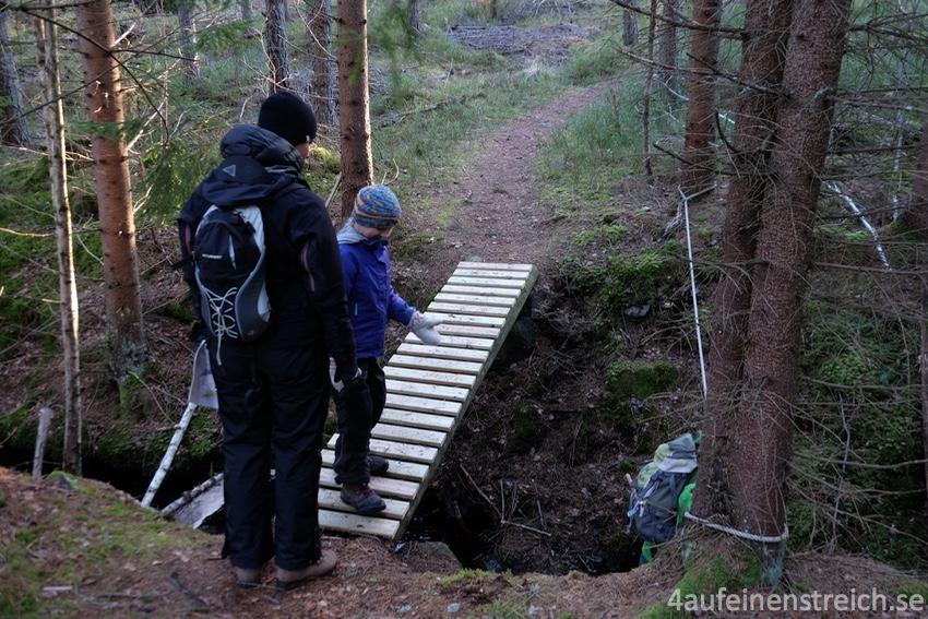 Hier kann man den bequemen neuen Weg über die Brücke wählen oder am Seil lang klettern...