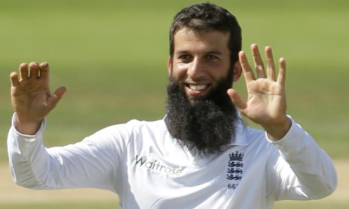 England's Moeen Ali celebrates after taking the wicket of India's Rohit Sharma at the Ageas Bowl