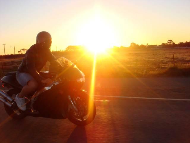 Happy Sunset Motorbike
