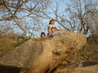 Inside a rock, on top of Mount Abu, watching the sunset.