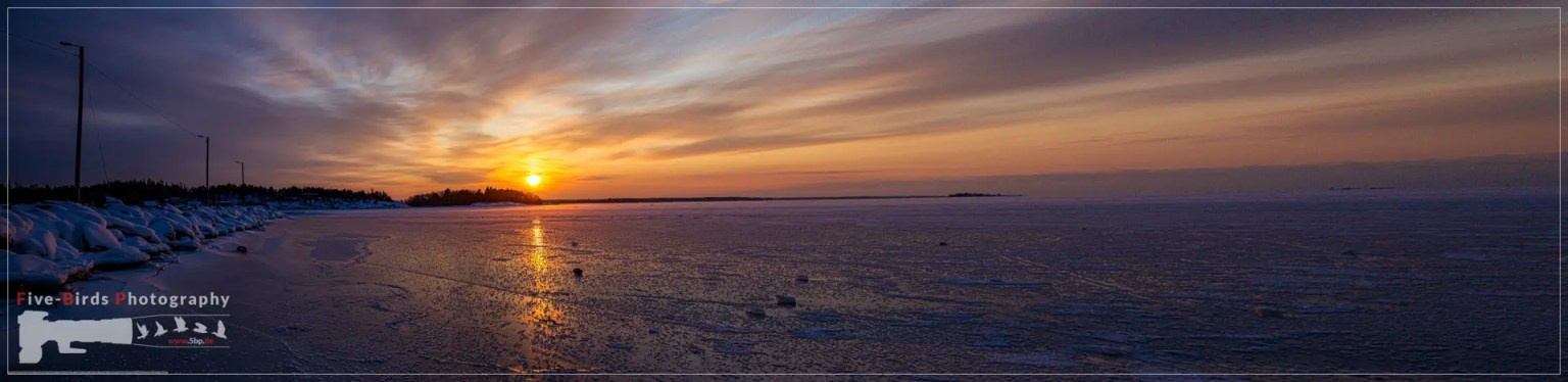 Pictures of a sunset on the frozen Baltic Sea near the Finnish town of Rauma