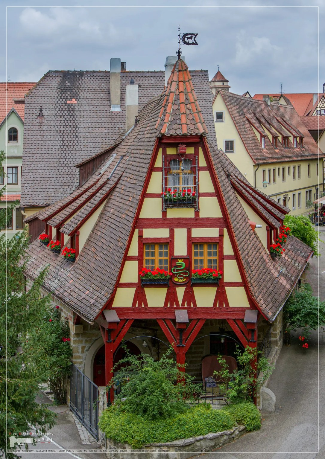 Houses in the old town of Rothenburg ob der Tauber in Bavaria
