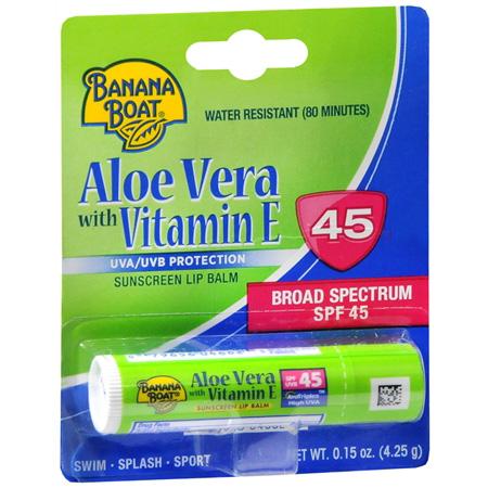 Banana Boat Aloe Vera with Vitamin E Sunscreen Lip Balm SPF 45, 0.15 oz