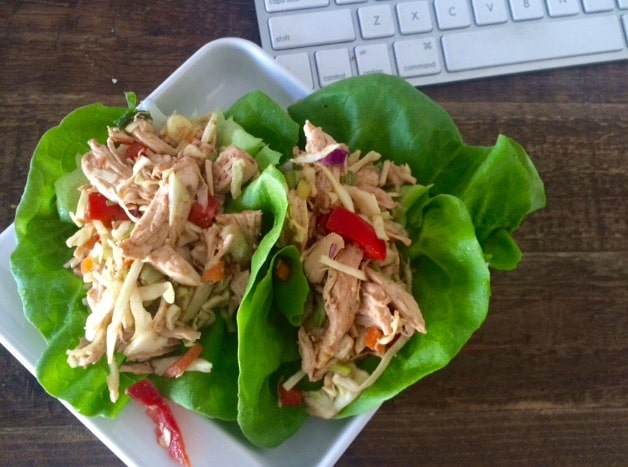 Easy no cook Asian Chicken Lettuce Wraps. I love these for lunch. | 5dinners1hour.com