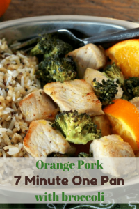 7 minutes from fridge to table! Orange Pork Bites! So yummy and so dang easy. I can't get enough of these one pan dinners. | 5dinners1hour.com