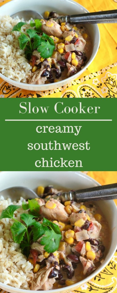 Slow Cooker CREAMY simple southwest chicken! Easy. YUM! Will make this one again. | 5dinners1hour.com