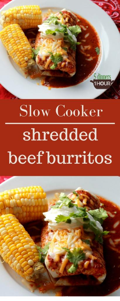 Slow Cooker Beef Burritos. THESE ARE SO GOOD! Better than restaurant! Can't wait to make again. | 5dinners1hour.com