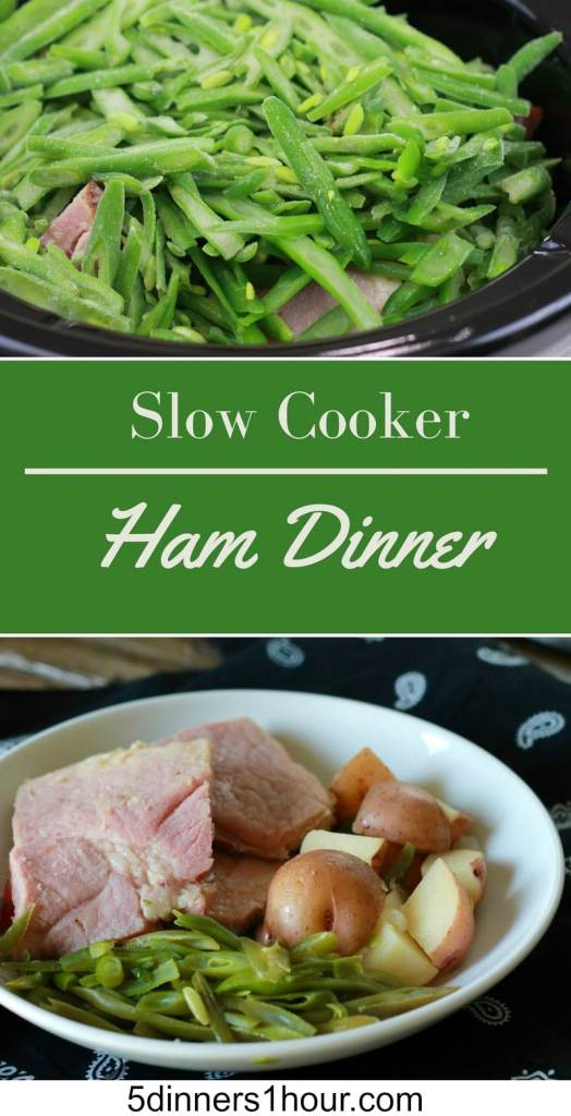 Slow Cooked Ham Dinner ALL IN ONE POT! These layered crock meals are awesome. | 5dinners1hour.com