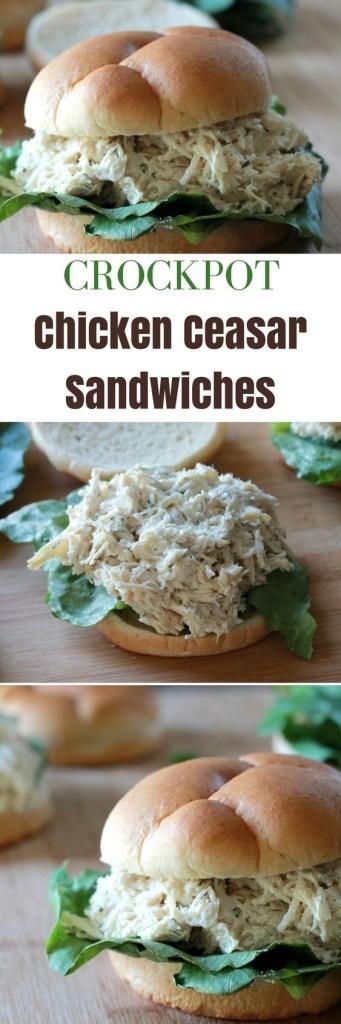 Crockpot Chicken Caesar Sandwiches | Slow Cooker | Sandwiches | 5dinners1hour.com