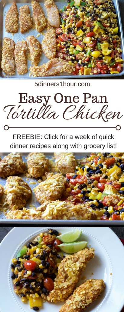One pan crunchy tortilla chicken strips with black bean and corn warm salad. Love a one pan dinner. | 5dinners1hour.com
