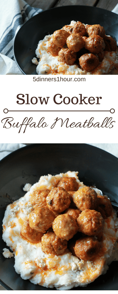 Spicy Buffalo Meatballs with Blue Cheese Mashed Potatoes! OMG! this is now a staple on game day at our house. | 5dinners1hour.com
