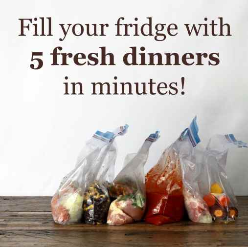 """5 freezer ziplock baggies filled with individual dinners on a wood table. Banner above baggies says """"fill your fridge with 5 fresh dinners in minutes"""""""