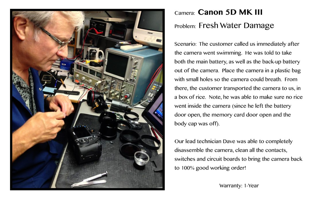 Dave Sleeth at his desk finishing up a complete disassemble on a Canon 5D MKIII