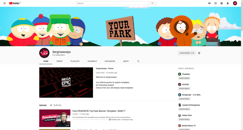 South Park Banner Example