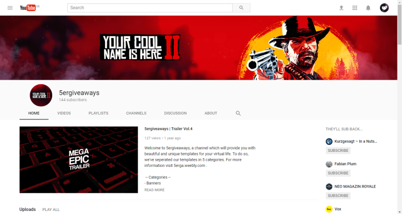 Red Dead Redemption 2 Banner Example