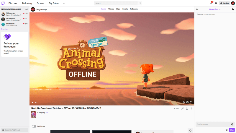 Animal Crossing Twitch Example