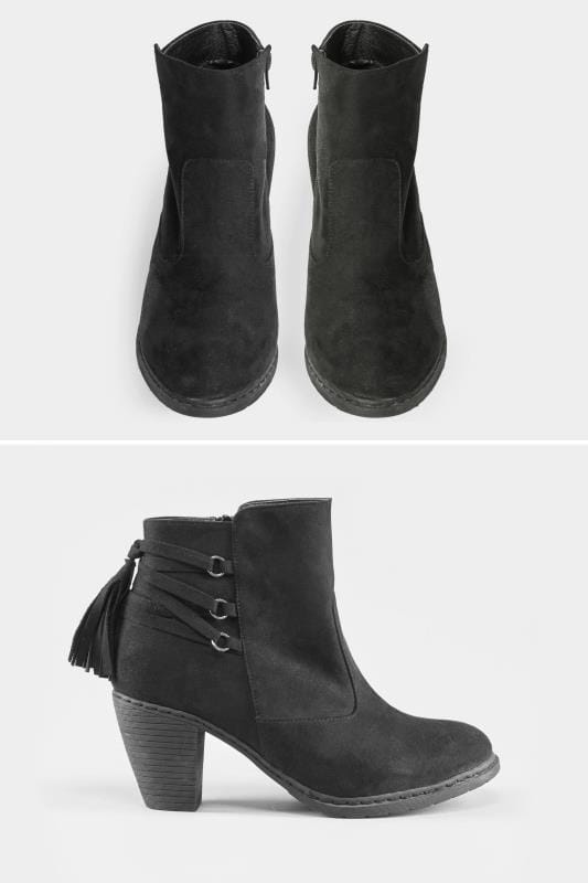 Download Black Tassel Heeled Ankle Boots In EEE Fit, Wide fit sizes ...