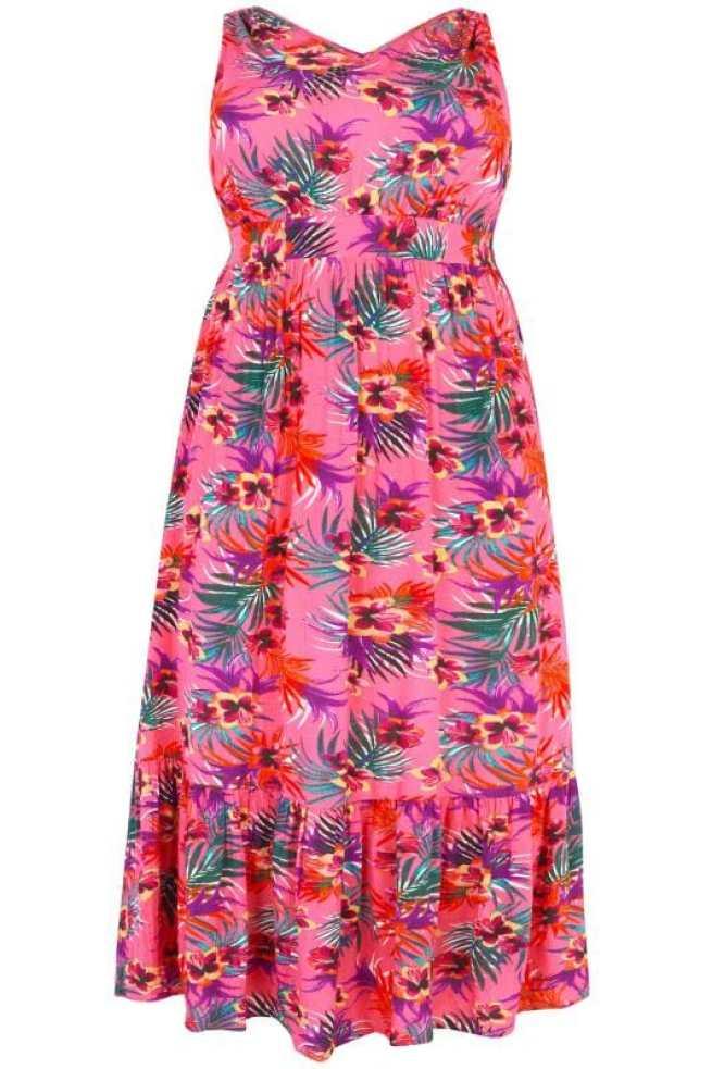 Vestidos largos Tallas Grandes Vestido largo rosa tropical