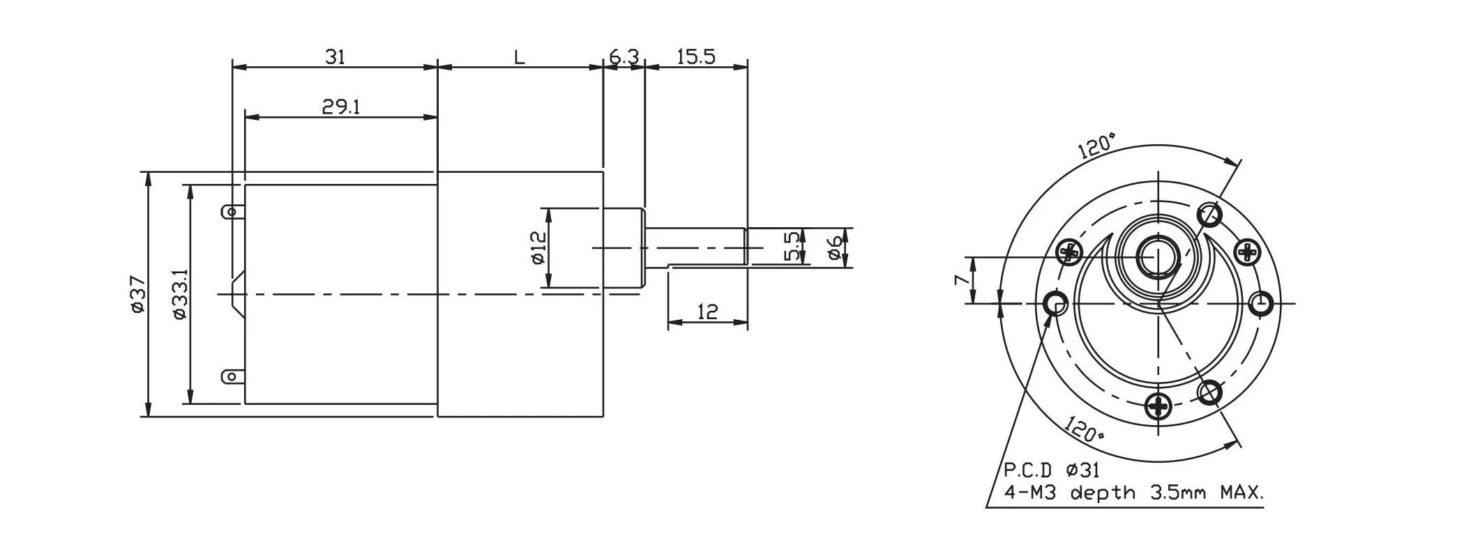 37mm Tg38 Dc Gear Motor 12v Dc Gear Motor 24v Dc Gear
