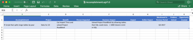 Sample Excel Accomplishment Log