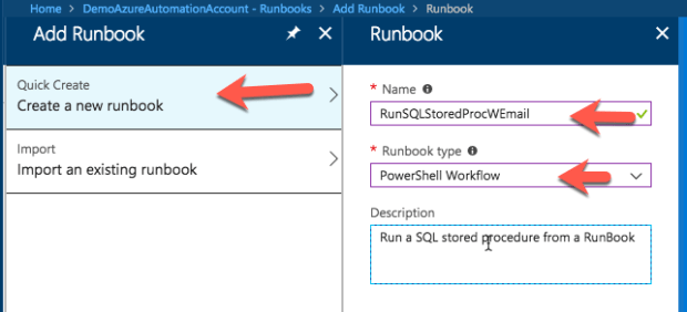 SQL Azure Stored Procedure Automation Using Runbooks and