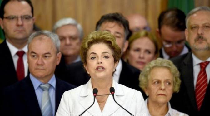 "DILMA ROUSSEFF: ""ESTAMOS A UN PASO DE LA CONCRECIÓN DE UN VERDADERO GOLPE DE ESTADO"""