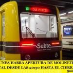 """SUBTE: ESTE LUNES HABRÁ APERTURA DE MOLINETES EN LA LÍNEA """"A"""" Y PARO TOTAL DESDE LAS 20:30 HASTA EL CIERRE"""