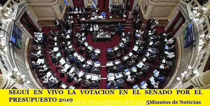 SEGUÍ EN VIVO LA VOTACIÓN EN EL SENADO POR EL PRESUPUESTO 2019
