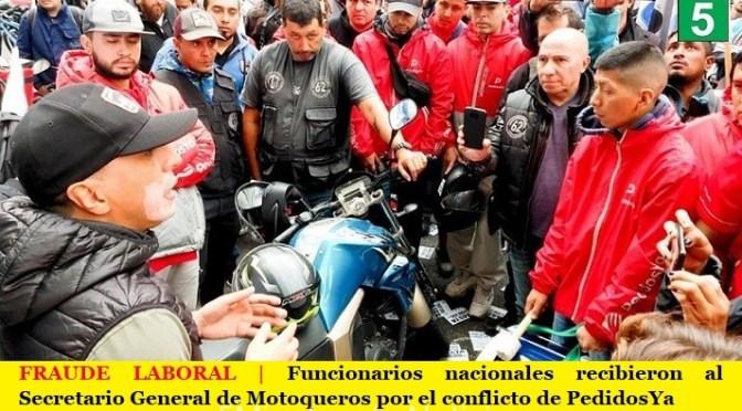 FRAUDE LABORAL | Funcionarios nacionales recibieron al Secretario General de Motoqueros por el conflicto de PedidosYa