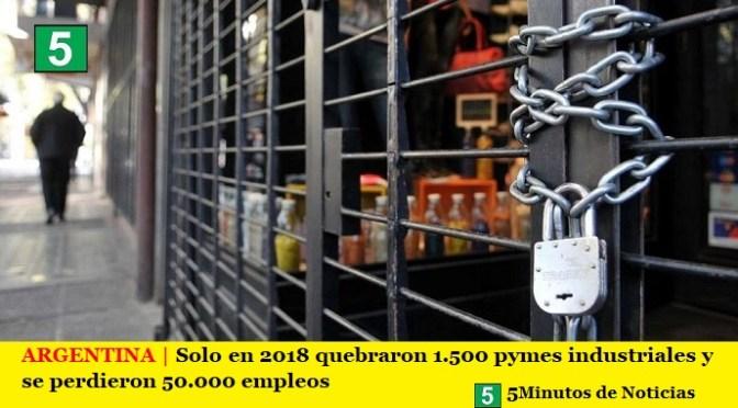ARGENTINA | Solo en 2018 quebraron 1.500 Pymes industriales y se perdieron 50.000 empleos