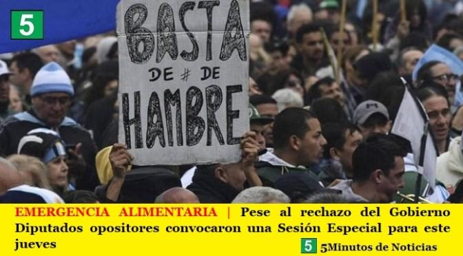 EMERGENCIA ALIMENTARIA | Pese al rechazo del Gobierno Diputados opositores convocaron una Sesión Especial para este jueves