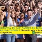 CON LA PRESENCIA DE LEO NARDINI SE REALIZÓ LA 4º CARRERA DE LOS COLORES   Diversión sana y festejo familiar en Malvinas Argentinas