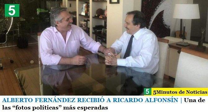 """ALBERTO FERNÁNDEZ RECIBIÓ A RICARDO ALFONSÍN   Una de las """"fotos políticas"""" más esperadas"""