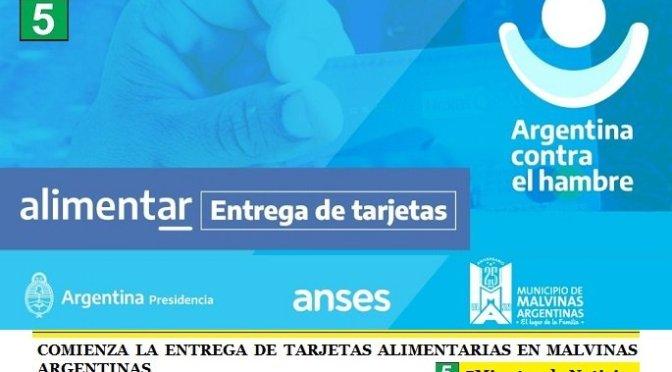 COMIENZA LA ENTREGA DE TARJETAS ALIMENTARIAS EN MALVINAS ARGENTINAS