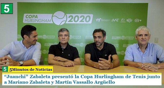 """""""Juanchi"""" Zabaleta presentó la Copa Hurlingham de Tenis junto a Mariano Zabaleta y Martín Vassallo Argüello"""