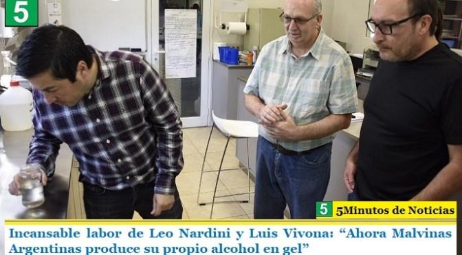 """Incansable labor de Leo Nardini y Luis Vivona: """"Ahora Malvinas Argentinas produce su propio alcohol en gel"""""""