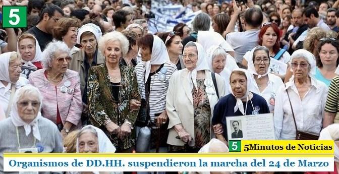 Organismos de DD.HH. suspendieron la marcha del 24 de Marzo