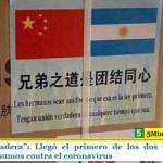 """""""Unión verdadera"""": Llegó el primero de los dos vuelos desde China con insumos contra el coronavirus"""