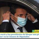 Sergio Massa envió a los presidentes de bloque una propuesta para sesionar 'online' en la Cámara de Diputados