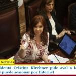 La Vicepresidenta Cristina Kirchner pide aval a la Corte para resolver si se puede sesionar por Internet