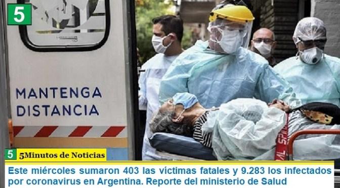 Este miércoles sumaron 403 las víctimas fatales y 9.283 los infectados por coronavirus en Argentina. Reporte del ministerio de Salud