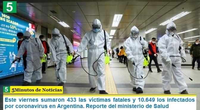 Este viernes sumaron 433 las víctimas fatales y 10.649 los infectados por coronavirus en Argentina. Reporte del ministerio de Salud