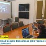 """El Frente de Unidad Docente Bonaerense pidió """"pautas claras respecto al trabajo en cuarentena"""""""