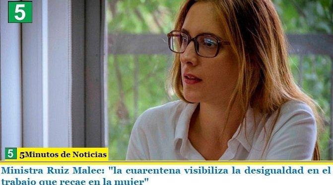 """Ministra Ruiz Malec: """"la cuarentena visibiliza la desigualdad en el trabajo que recae en la mujer"""""""