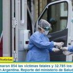Este lunes sumaron 854 las víctimas fatales y 32.785 los infectados por coronavirus en Argentina. Reporte del ministerio de Salud