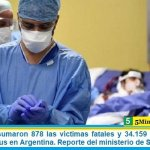 Este martes sumaron 878 las víctimas fatales y 34.159 los infectados por coronavirus en Argentina. Reporte del ministerio de Salud