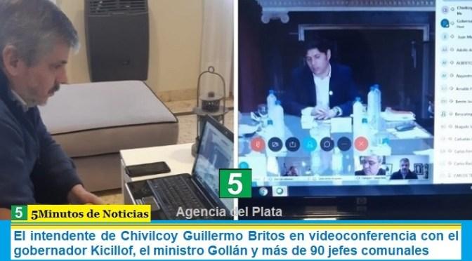 El intendente de Chivilcoy Guillermo Britos en videoconferencia con el gobernador Kicillof, el ministro Gollán y más de 90 jefes comunales